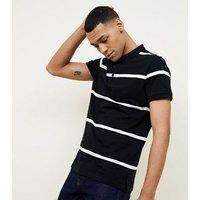 Black Wide Stripe Polo Shirt New Look