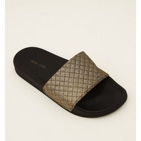 Black Quilted Glitter Strap Sliders New Look