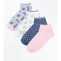 4 Pack Grey Bunny and Polka Dot Trainers Socks New Look
