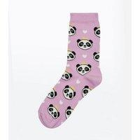 Lilac Princess Panda Socks New Look