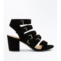 Teens Black Suedette Buckle Strap Gladiator Sandals New Look