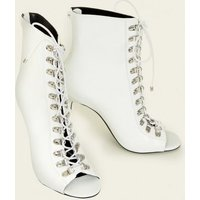 White Leather-Look Lace Up Peep Toe Stilettos New Look