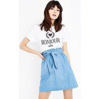 Blue Denim Paperbag Skirt New Look