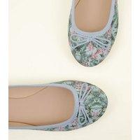 Blue Tropical Print Ballet Pumps New Look