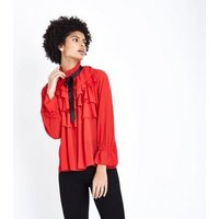 Cameo Rose Red Frill Tie Neck Blouse New Look