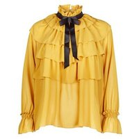 Cameo Rose Mustard Frill Tie Neck Blouse New Look