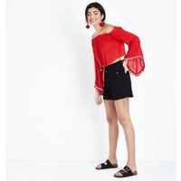 QED Red Tie Front Bardot Neck Top New Look
