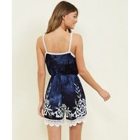Navy Tie Dye Crochet Trim Wrap Front Playsuit New Look