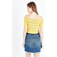 Yellow Pointelle Stripe Bardot Top New Look