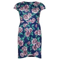 Blue Vanilla Curves Navy Floral Print Tulip Dress New Look