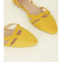 Girls Yellow Suedette Ankle Strap Ballet Pumps New Look