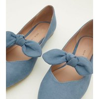 Girls Blue Suedette Bow Front Ballet Pumps New Look