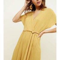 Mustard Plissé Wrap Front Culotte Jumpsuit New Look