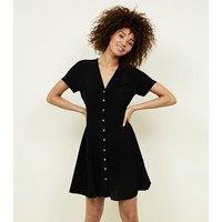 Black V Neck Button Front Tea Dress New Look