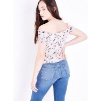 Teens Pink Floral Shirred Bardot Neck Top New Look