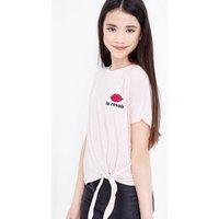 Teens Pink Au Revoir Logo Tie Side T-Shirt New Look