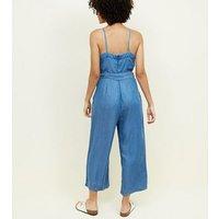 Blue Square Neck Lightweight Denim Jumpsuit New Look