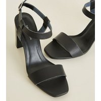 Black Leather-Look Square Toe Block Heels New Look