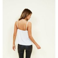 Off White Ruched Knot Front Cami New Look