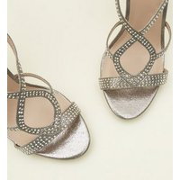 Pewter Gem Studded Stiletto Sandals New Look