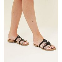 Black Leather Faux Snakeskin Strappy Mules New Look