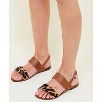 Wide Fit Tan Leather Leopard Print Strap Sandals New Look