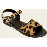 Stone Leather Leopard Print Studded Sandals New Look