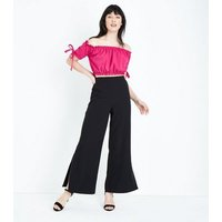 Bright Pink Tie Sleeve Gathered Bardot Crop Top New Look