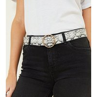 White Circle Buckle Belt New Look