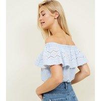 Blue Stripe Cutwork Frill Bardot Crop Top New Look