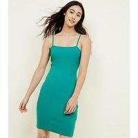 Green Square Neck Mini Dress New Look