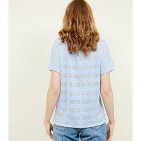 Blue Fine Knit Stripe T-Shirt New Look
