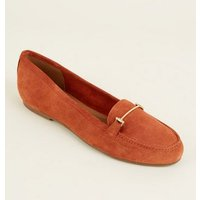 Rust Suede Loafers New Look