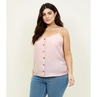 Curves Pale Pink Button Front Cami New Look