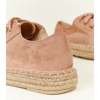 Wide Fit Nude Suedette Lace Up Espadrille Trainers New Look