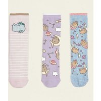 3 Pack Pink and Lilac Pusheen Cat Print Socks New Look