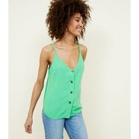 Cameo Rose Green Contrast Button Cami New Look