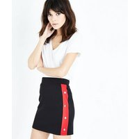 Cameo Rose Red Stripe Popper Side Skirt New Look
