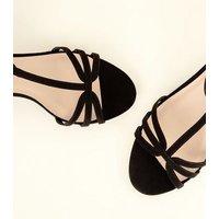Wide Fit Black Comfort Flex Suedette Strappy Kitten Heels New Look