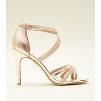 Rose Gold Strappy Stiletto Sandals New Look