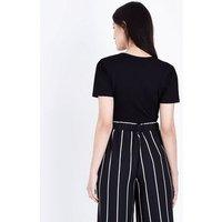 Petite Black Wrap Front Bodysuit New Look
