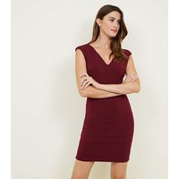 Mela Burgundy V-Neck Bandage Bodycon Dress New Look