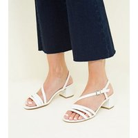 Wide Fit White Patent Crinkle Low Heel Sandals New Look