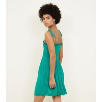 Green Shirred Button Front Sundress New Look