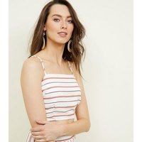 Red Stripe High Neck Crop Top New Look