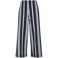 Black Stripe Scuba Cropped Wide Leg Trousers New Look