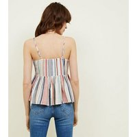 Tall White Stripe Tie Front Cami Top New Look
