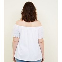 Curves White Broderie Sleeve Bardot T-Shirt New Look