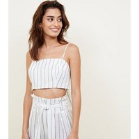 White Stripe Linen Look Cropped Cami New Look