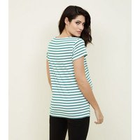 Maternity Green Stripe Short Sleeve T-Shirt New Look